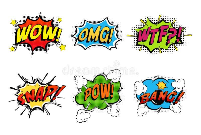 Bolhas da banda desenhada para emoções e explosões ilustração stock
