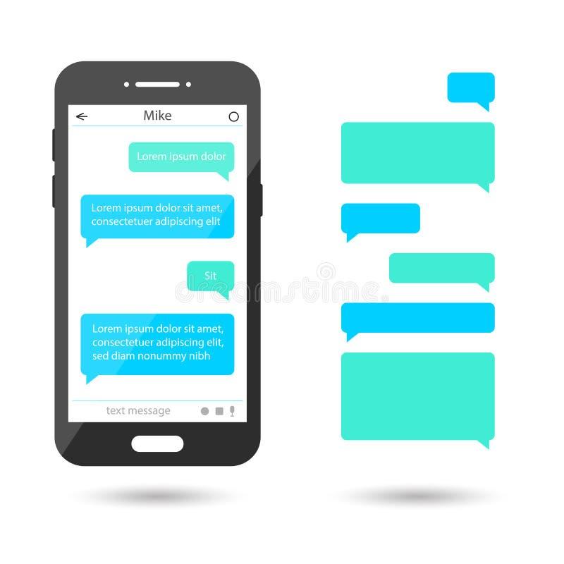 Bolhas da mensagem ajustadas para o bate-papo, mensagem Molde de Smartphone ilustração royalty free