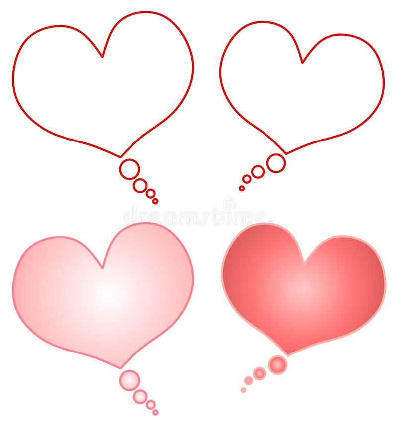 Bolhas dadas forma coração da conversa dos desenhos animados ilustração do vetor