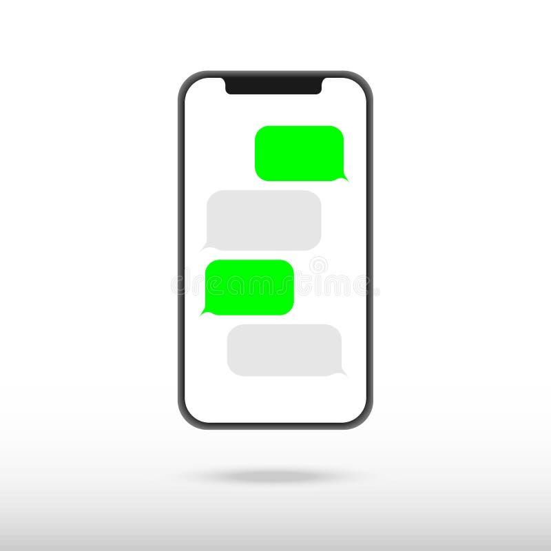 Bolhas de conversa do molde do app dos sms do preto de Smartphone, tema preto e branco Coloque seu próprio texto às nuvens da men ilustração royalty free