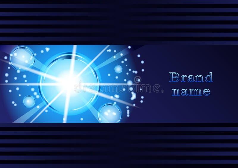 Bolhas de incandescência, abstração, em uma obscuridade - fundo azul ilustração stock