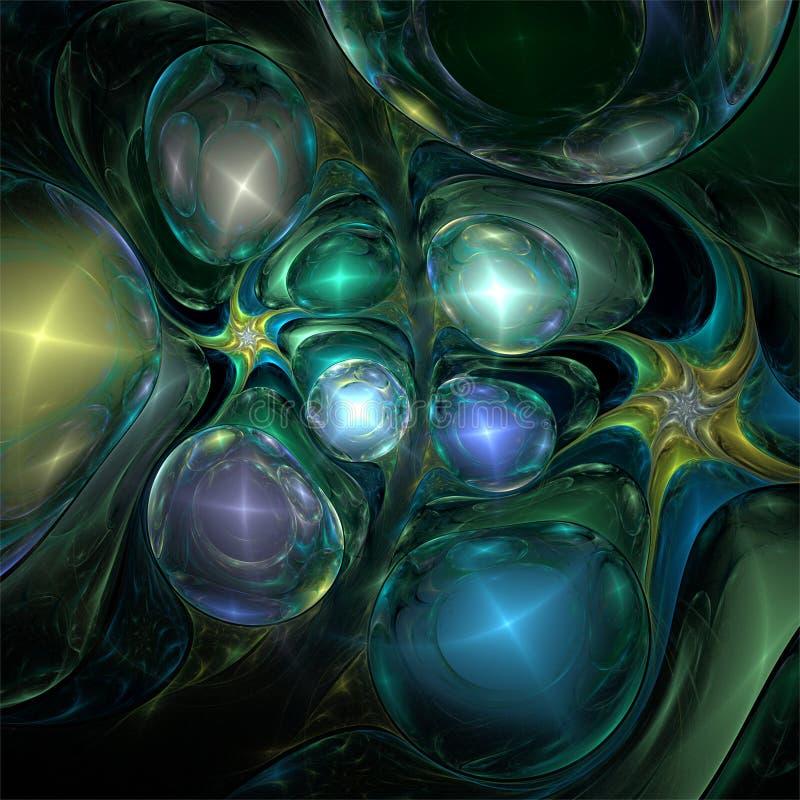 Bolhas de prata do ouro azul de vidro delicado místico abstrato da arte do fractal ilustração royalty free
