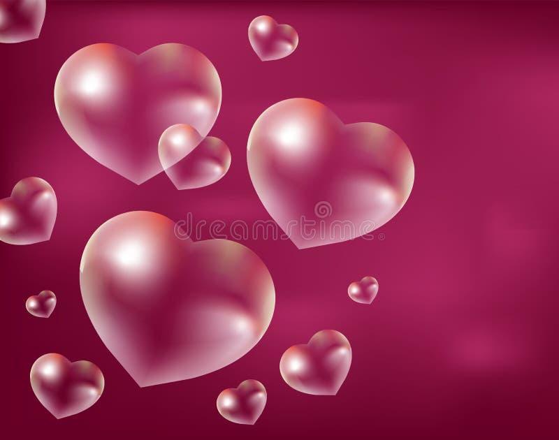Bolhas de sabão realísticas Coração-dadas forma Gotas da água em uma forma Rosa vermelha ilustração royalty free