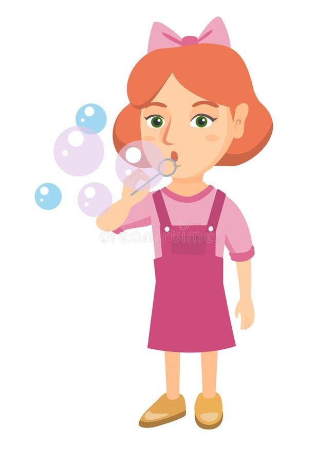 Bolhas de sabão de sopro da menina caucasiano pequena ilustração do vetor