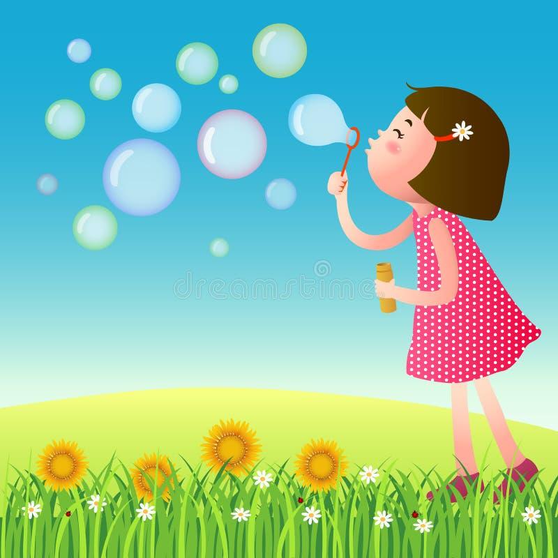 Bolhas de sopro da menina bonito no gramado ilustração do vetor