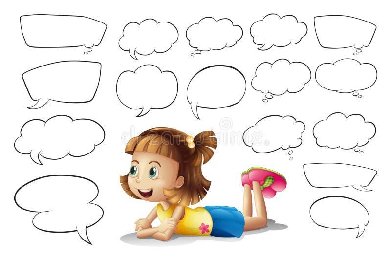Bolhas de uma menina de sorriso e do discurso ilustração royalty free