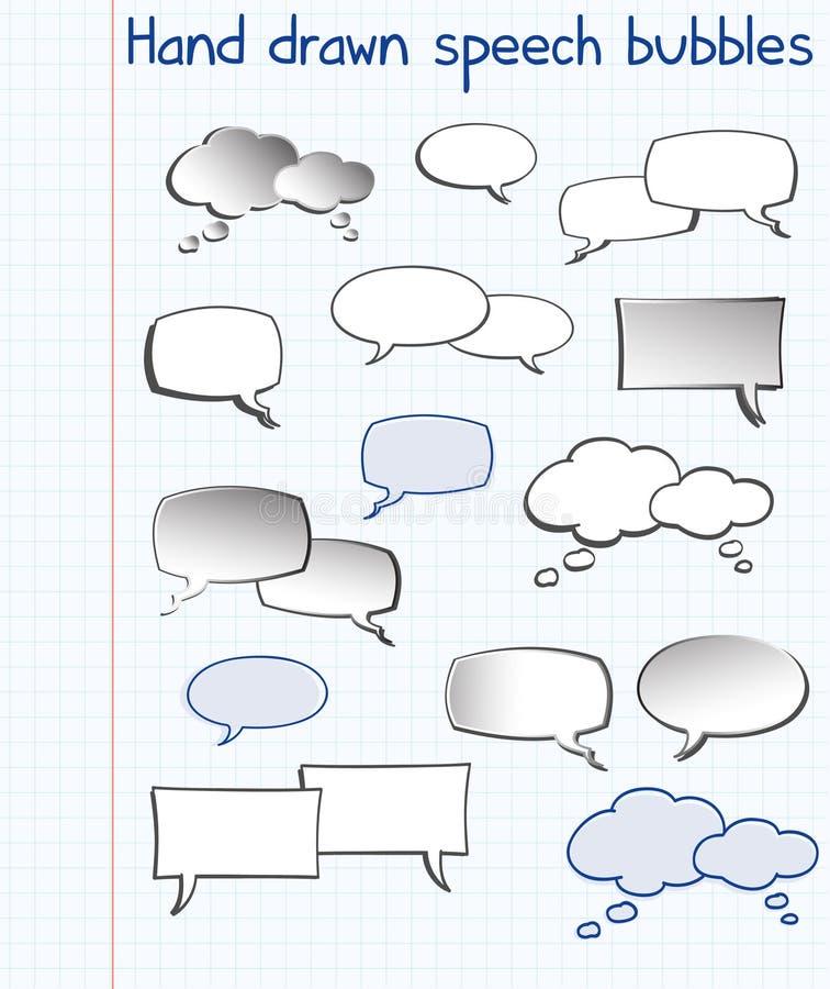 Bolhas desenhadas mão do discurso ilustração do vetor