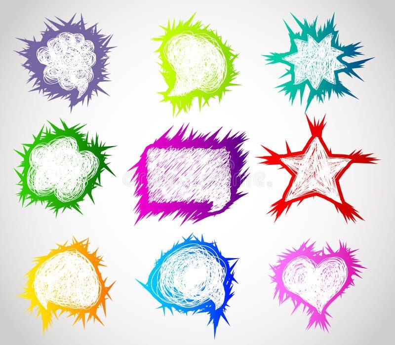 Bolhas desenhadas mão do discurso da cor ilustração do vetor