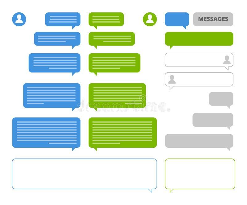 Bolhas do App Converse quadros das bolhas do discurso do cliente para a conversa social do mensageiro móvel ou sms que enviam a p ilustração royalty free