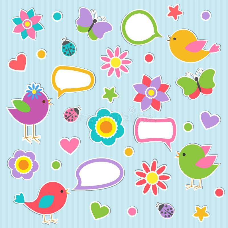 Bolhas do discurso com pássaros bonitos ilustração royalty free