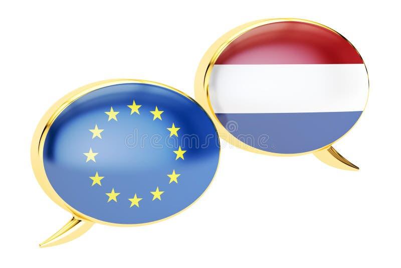 Bolhas do discurso, conceito da conversação de EU-Países Baixos renderin 3D ilustração do vetor