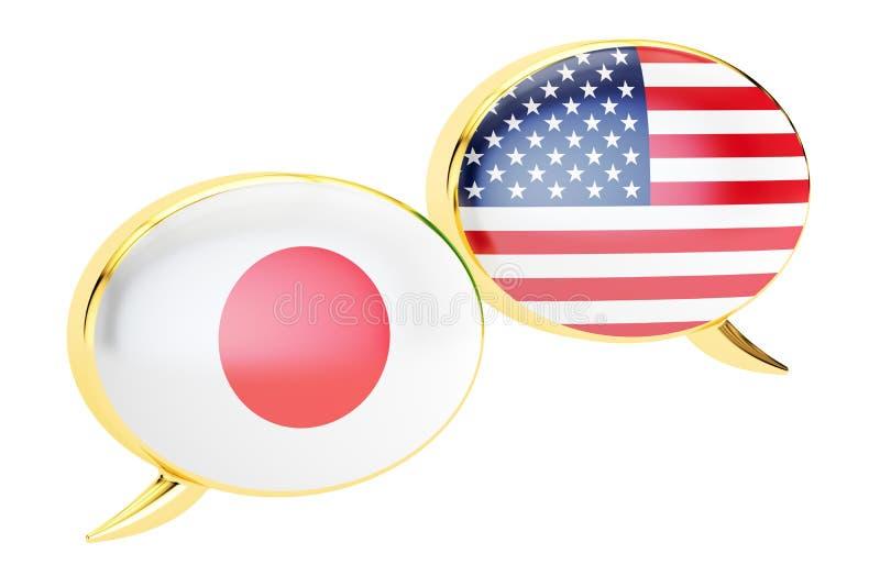 Bolhas do discurso, conceito da conversação Japonês-EUA rendição 3d ilustração royalty free