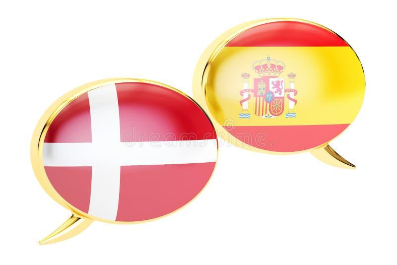 Bolhas do discurso, conceito Espanhol-dinamarquês da tradução rendição 3d ilustração royalty free