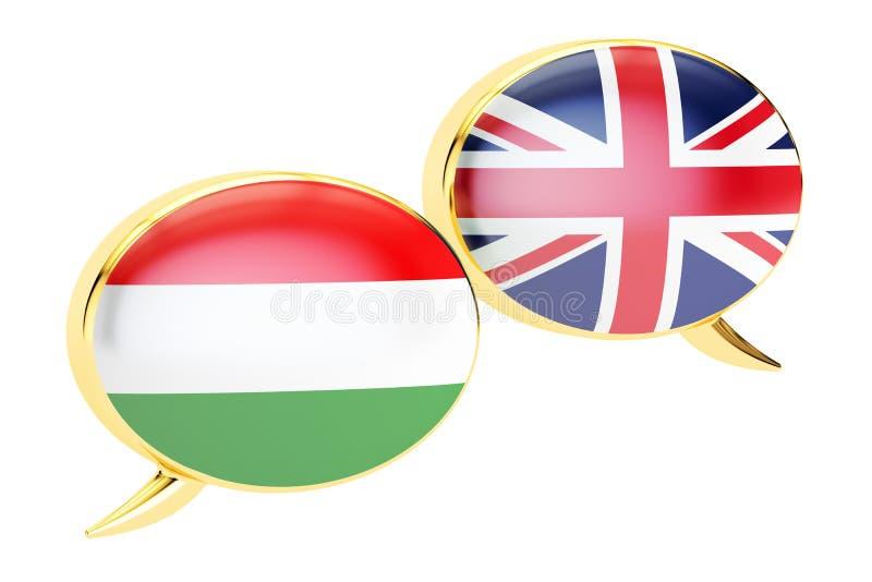 Bolhas do discurso, conceito Inglês-húngaro da conversação rende 3D ilustração royalty free