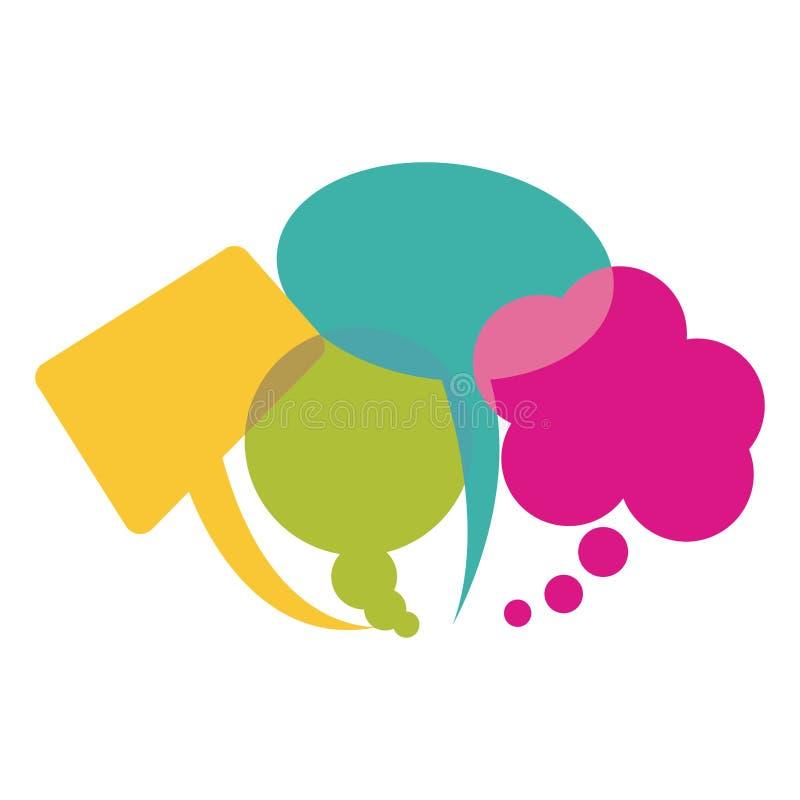 bolhas do discurso da coleção e balões coloridos do diálogo ilustração do vetor
