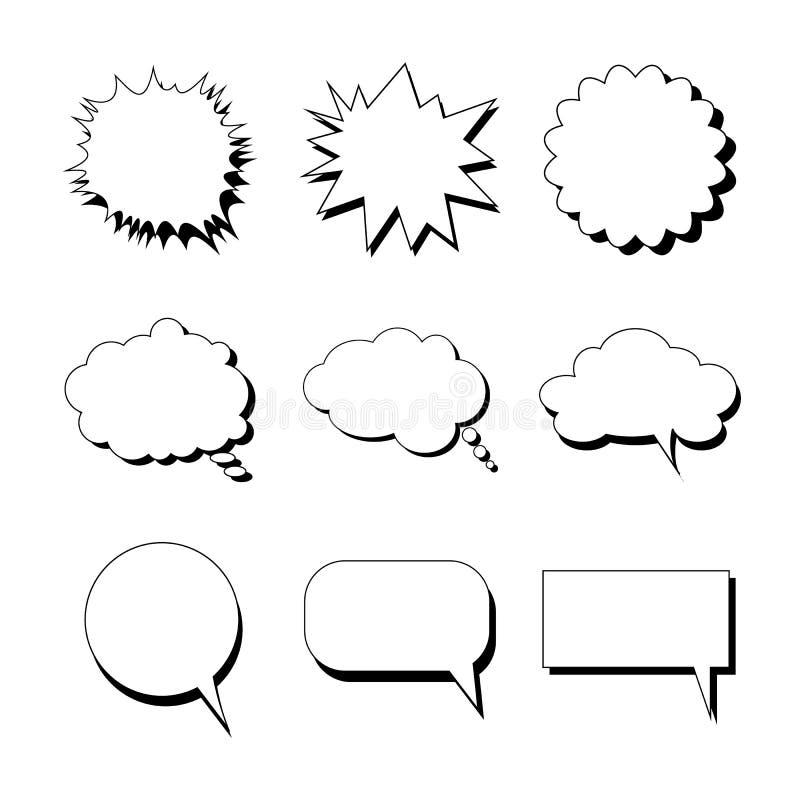 Bolhas do discurso de formas diferentes ilustração royalty free