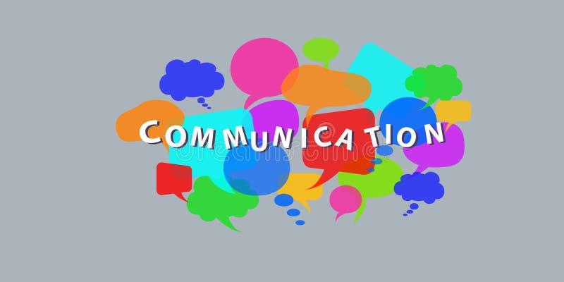 Bolhas do discurso do diálogo com palavra de uma comunicação Vetor liso do estilo ilustração royalty free