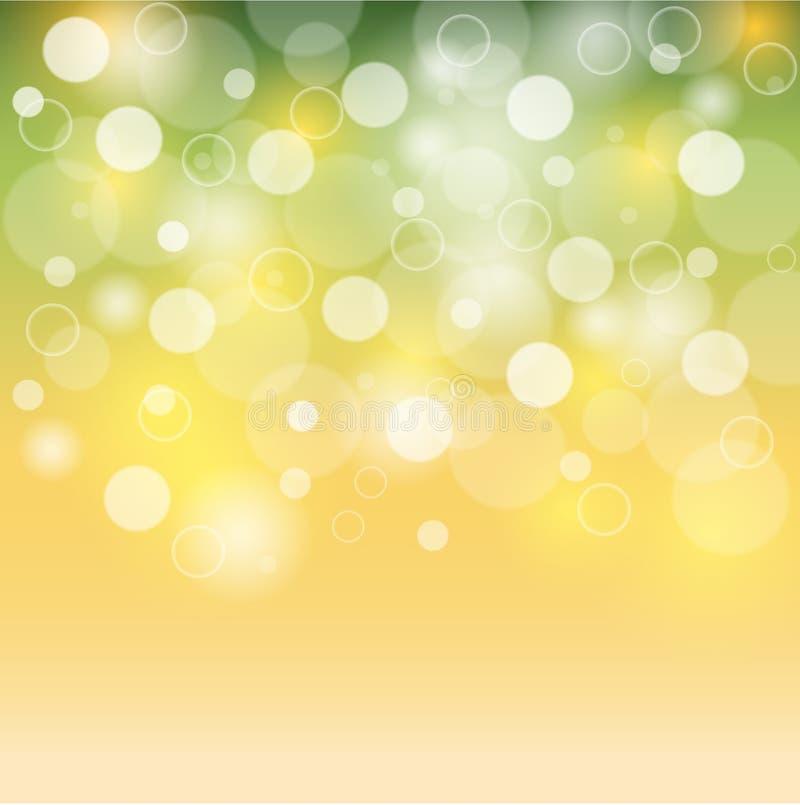 Bolhas do fundo verde e amarelo ou luzes brancas do bokeh Bokeh do verão ilustração royalty free
