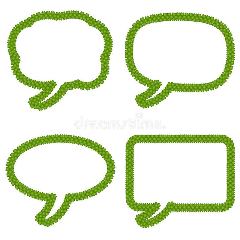 Bolhas do pensamento ou bolha do discurso quatro da folha Clov ilustração stock