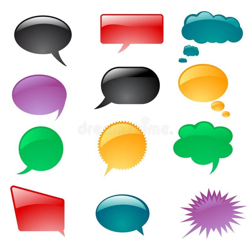 Bolhas do pensamento ou do discurso ilustração do vetor