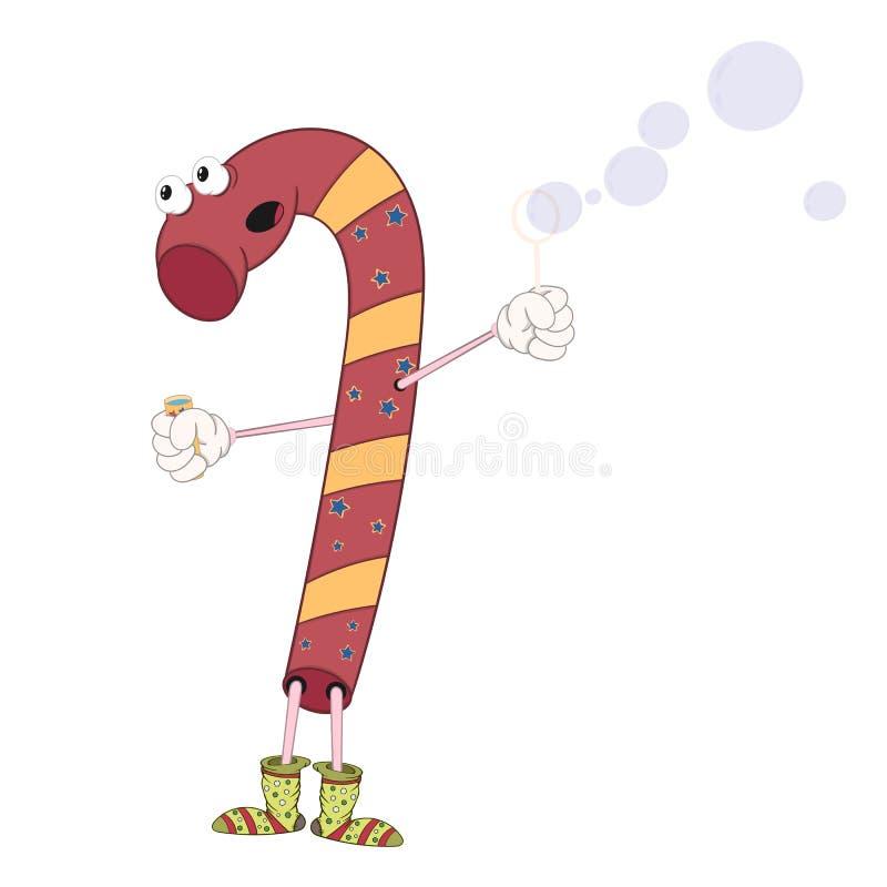 Bolhas do sopro dos doces do Natal Estilo cômico dos desenhos animados alegres com contorno Ilustração decorativa para seus cartõ ilustração do vetor