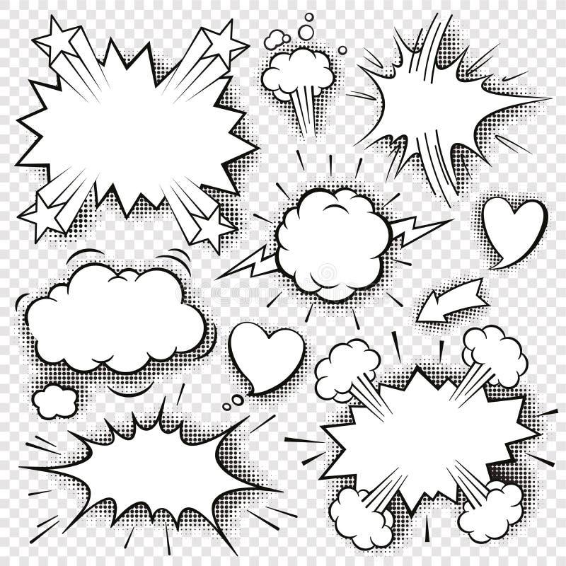 Bolhas e elementos cômicos 3 ilustração stock