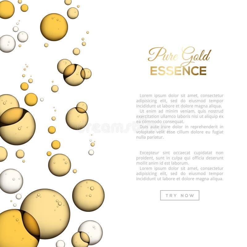 Bolhas isoladas no branco, emulsão do óleo do colagênio ilustração stock