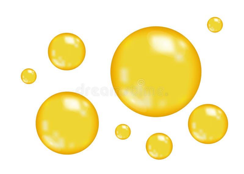 Bolhas lustrosas realísticas do ouro ilustração do vetor