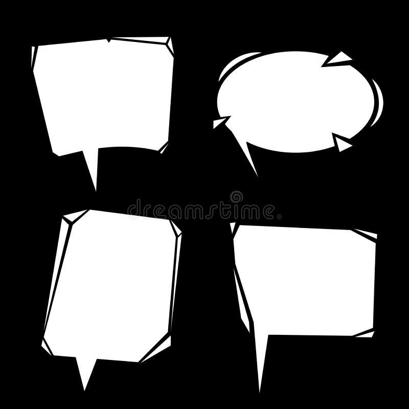 Bolhas modernas do discurso dos desenhos animados ajustadas Símbolos brancos de uma comunicação isolados no quadro-negro ilustração do vetor