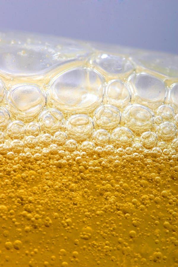 Bolhas na cerveja imagens de stock