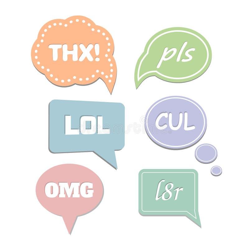 Bolhas simples do discurso das abreviaturas LOL e THX ilustração do vetor
