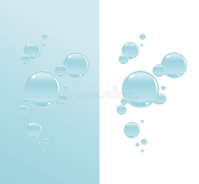Bolhas transparentes da água ilustração stock
