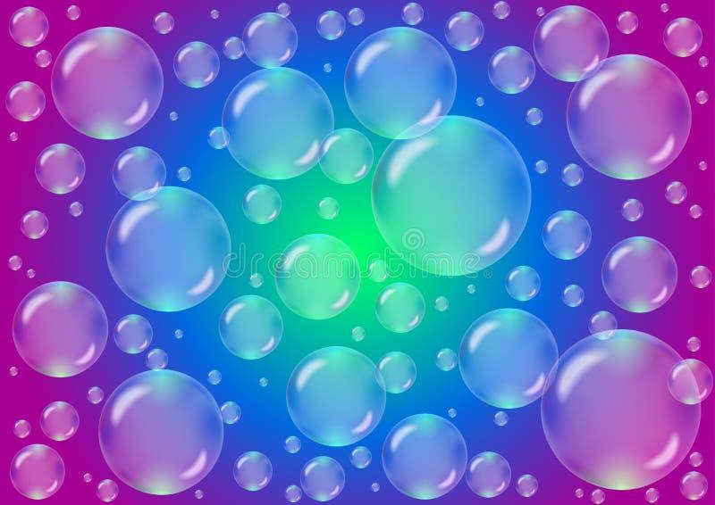Bolhas transparentes em um fundo colorido ilustração stock