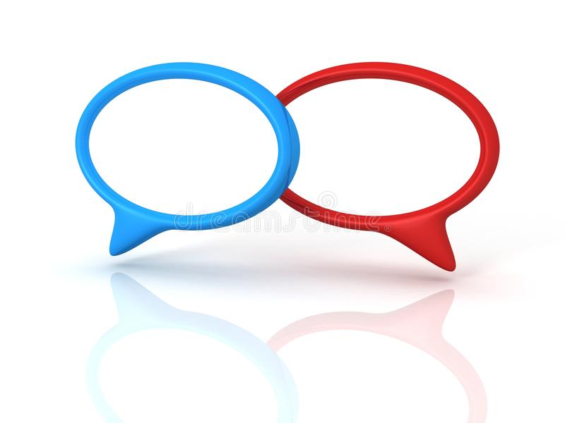 Bolhas vermelhas e azuis do diálogo do discurso do conceito ilustração royalty free