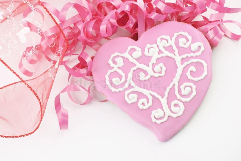 Bolinho do coração do Valentim imagem de stock