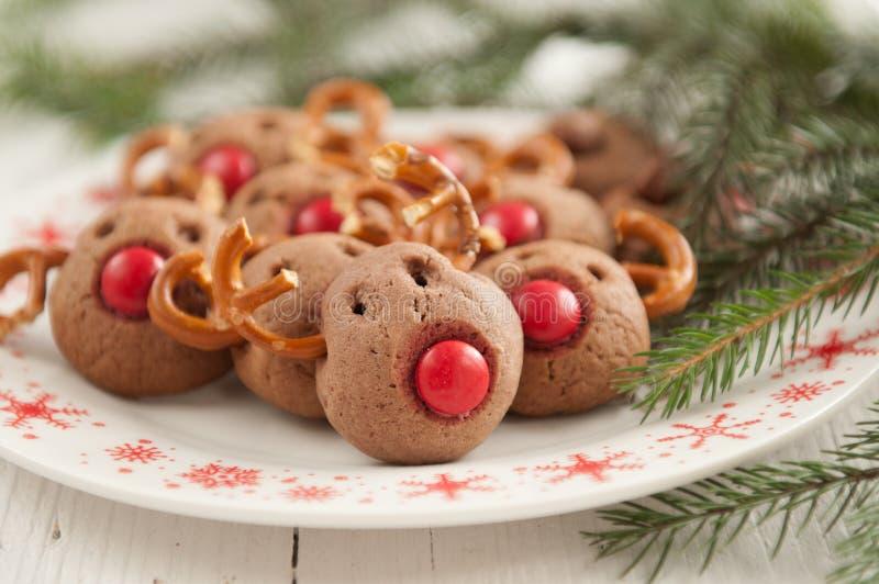 Bolinhos da rena de Rudolf do Natal fotografia de stock royalty free