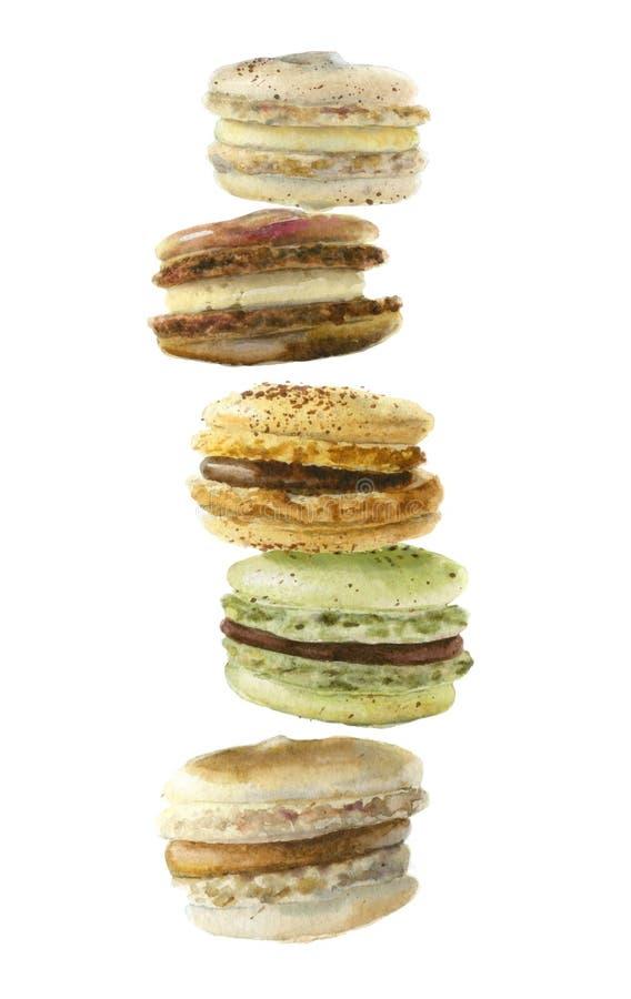 Bolinhos de amêndoa do francês da sobremesa da aquarela foto de stock royalty free