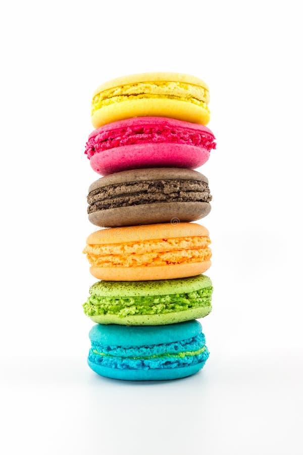 Bolinhos de amêndoa franceses doces e coloridos foto de stock