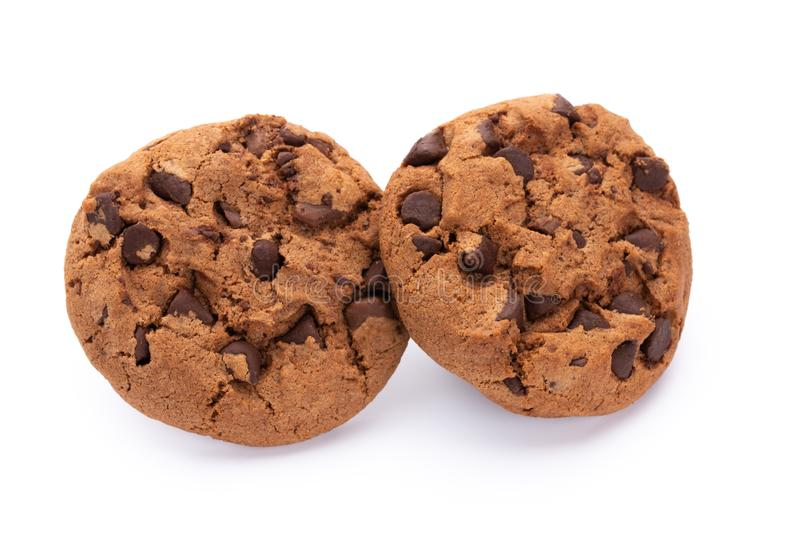 Bolinhos de microplaqueta de chocolate isolados no fundo branco Biscoitos doces Pastelaria caseiro foto de stock royalty free