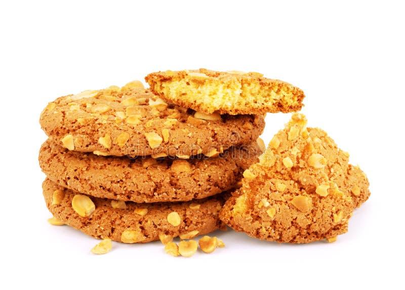 Bolinhos de microplaqueta de chocolate isolados no fundo branco Biscoitos doces Pastelaria caseiro fotografia de stock royalty free