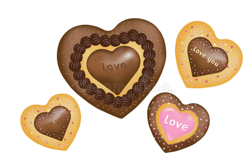 Bolinhos do chocolate (forma dos corações). Vetor ilustração royalty free