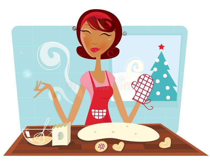Bolinhos do cozimento da mulher do Natal na cozinha retro ilustração do vetor