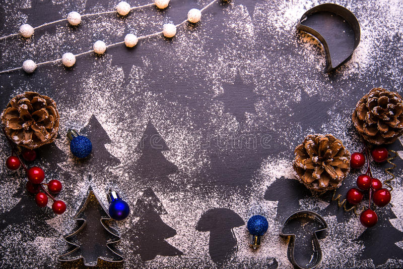 Bolinhos do Natal Ingredientes para o cozimento fotografia de stock