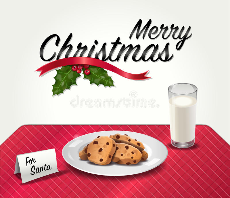 Bolinhos e leite para Santa ilustração stock