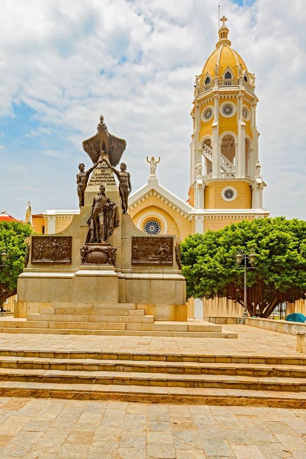 Bolivar della plaza in Casco Viejo in Panamá immagini stock libere da diritti