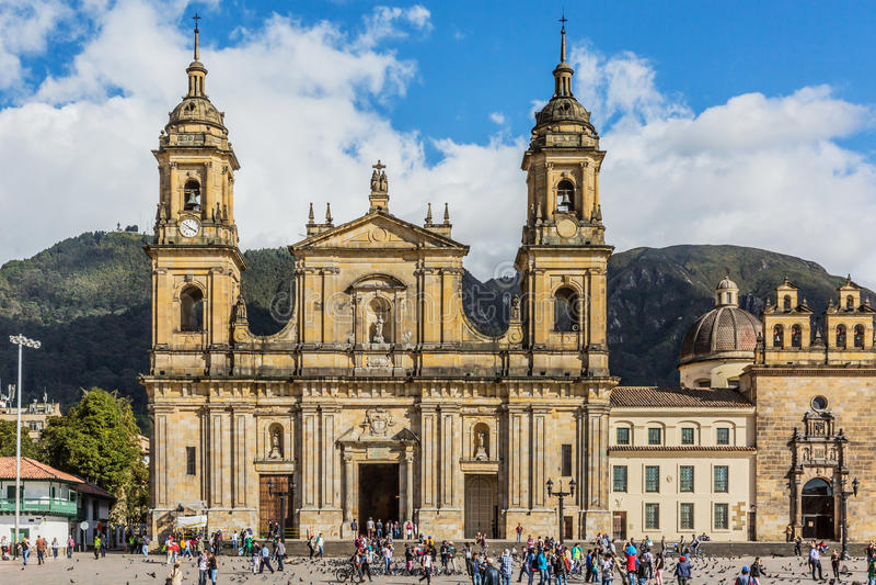 Bolivar plazaLa Candelaria Bogota Colombia royaltyfri bild