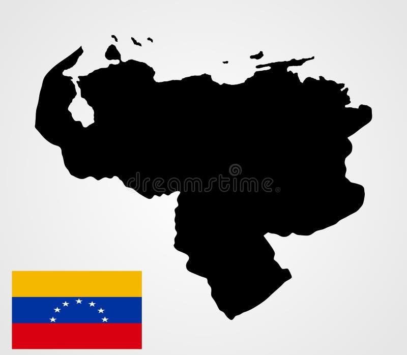 Bolivarian-Republik des Venezuela-Kartenschattenbildes und der Venezuela-Flagge vektor abbildung