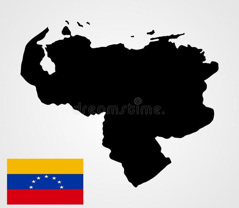 Bolivarian republika Wenezuela mapy sylwetka i Wenezuela zaznaczamy ilustracja wektor