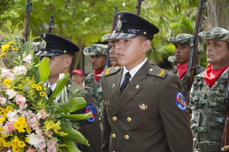 Bolivarian Venezolaanse militair in zijn feestkleding royalty-vrije stock foto