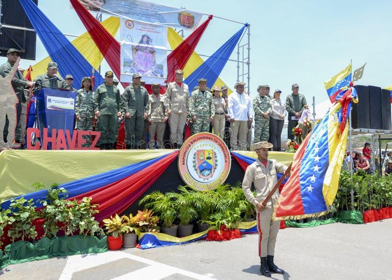Bolivarian Venezolaanse militaire en burgerlijke politici stock foto's